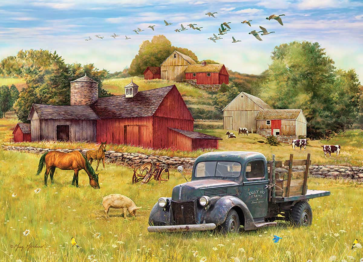 Blue Truck Farm Vehicles Jigsaw Puzzle