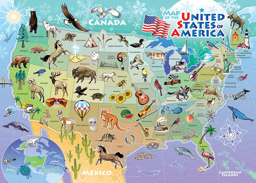 USA Map Maps / Geography Jigsaw Puzzle