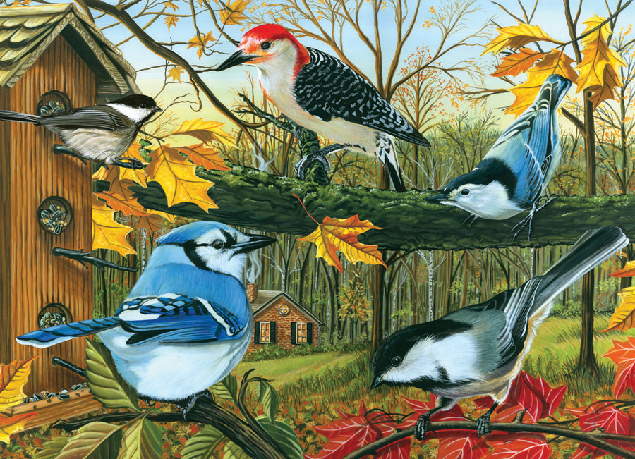 Backyard Feeder - Scratch and Dent Birds Jigsaw Puzzle