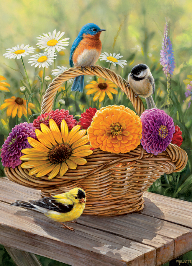 Summer Bouquet Birds Jigsaw Puzzle