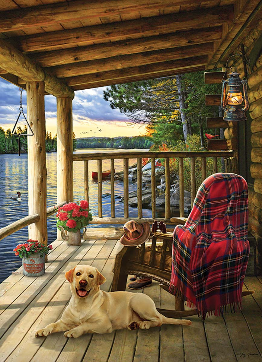 Cabin Porch Dogs Jigsaw Puzzle