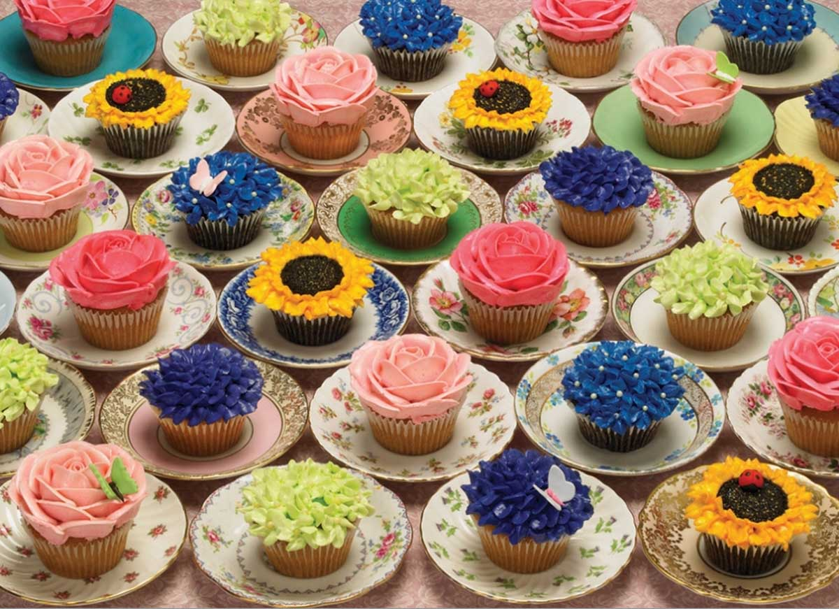 Cupcakes and Saucers Flowers Jigsaw Puzzle