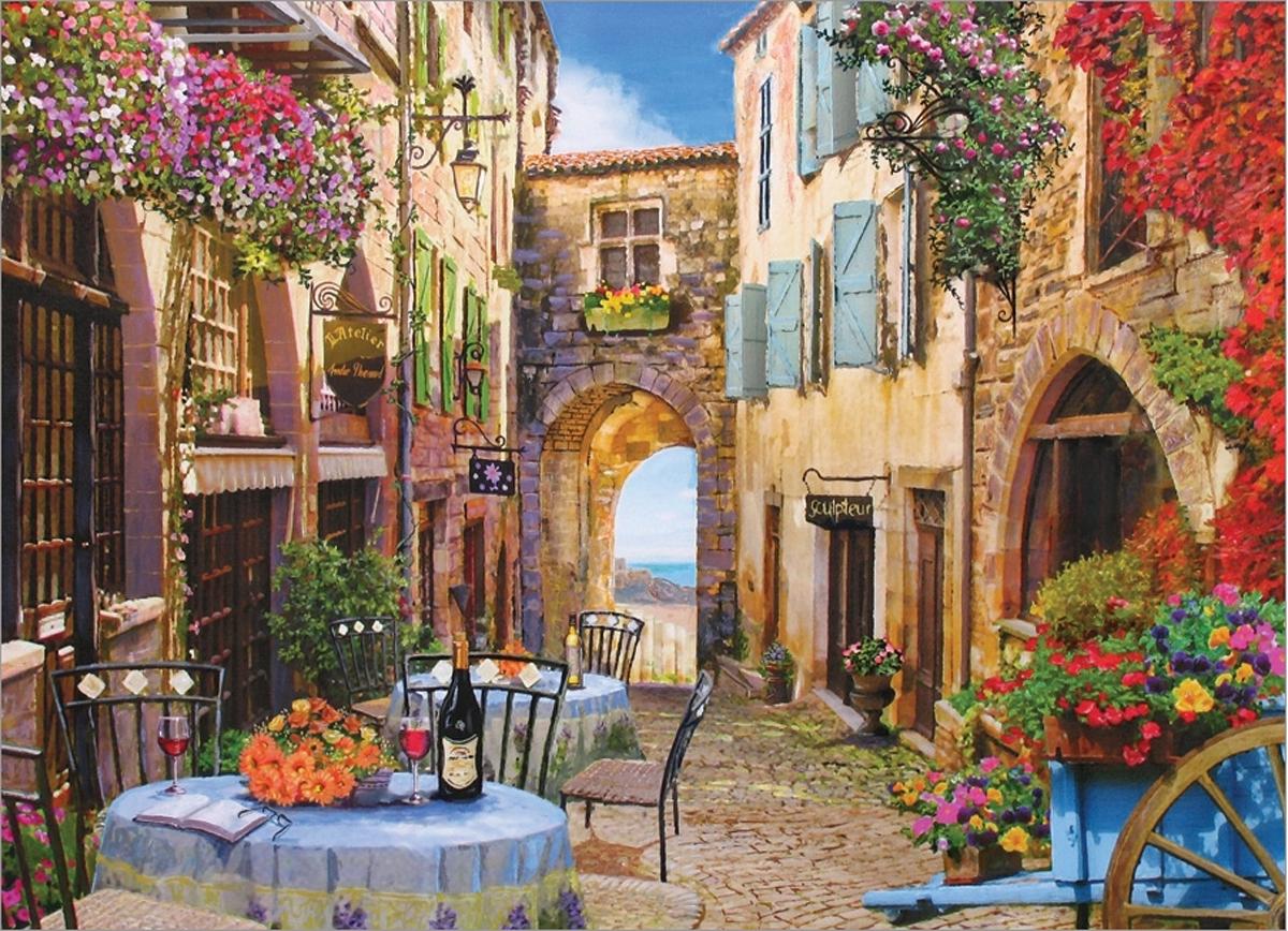French Village Street Scene Jigsaw Puzzle