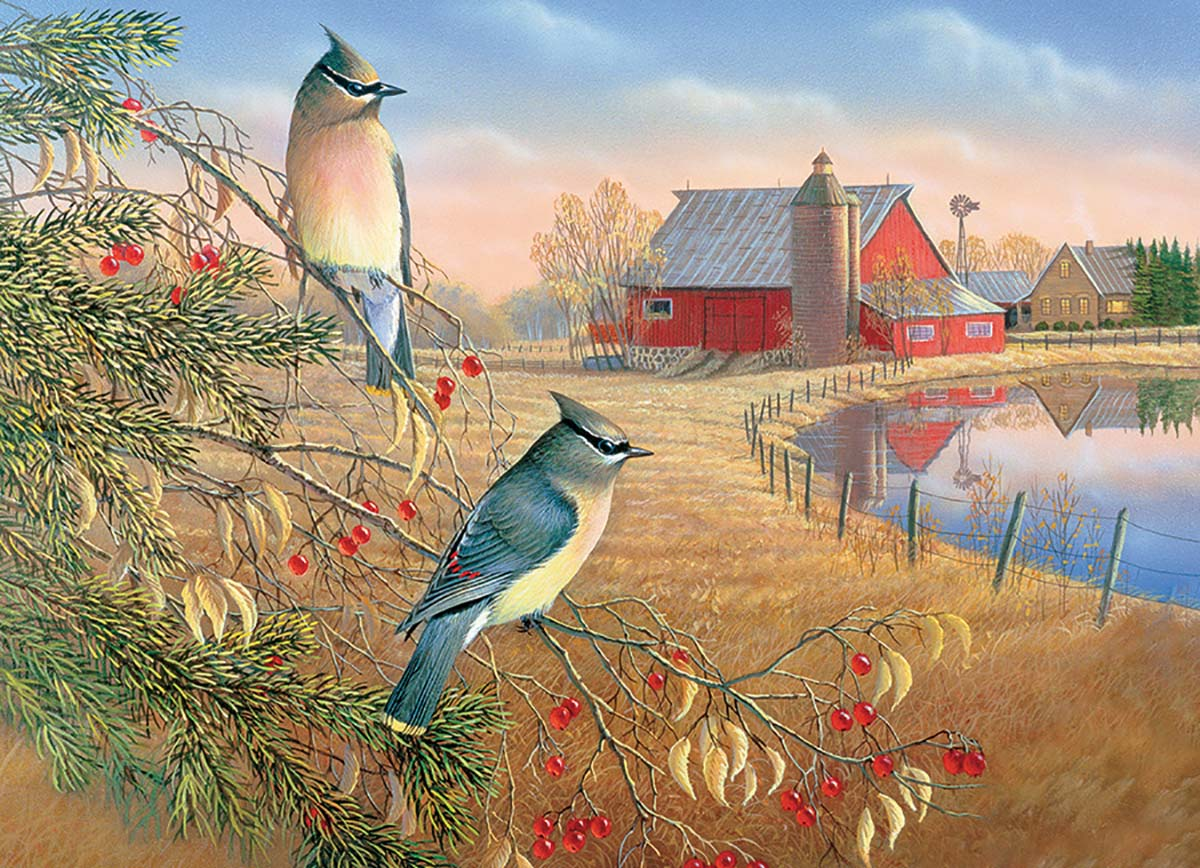 Cedar Waxwings Birds Jigsaw Puzzle