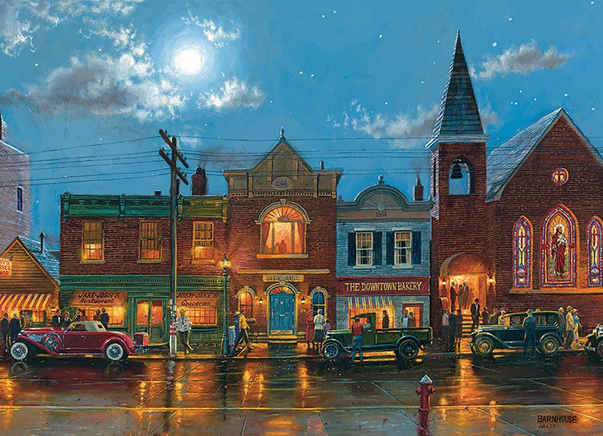 Evening Service Street Scene Jigsaw Puzzle