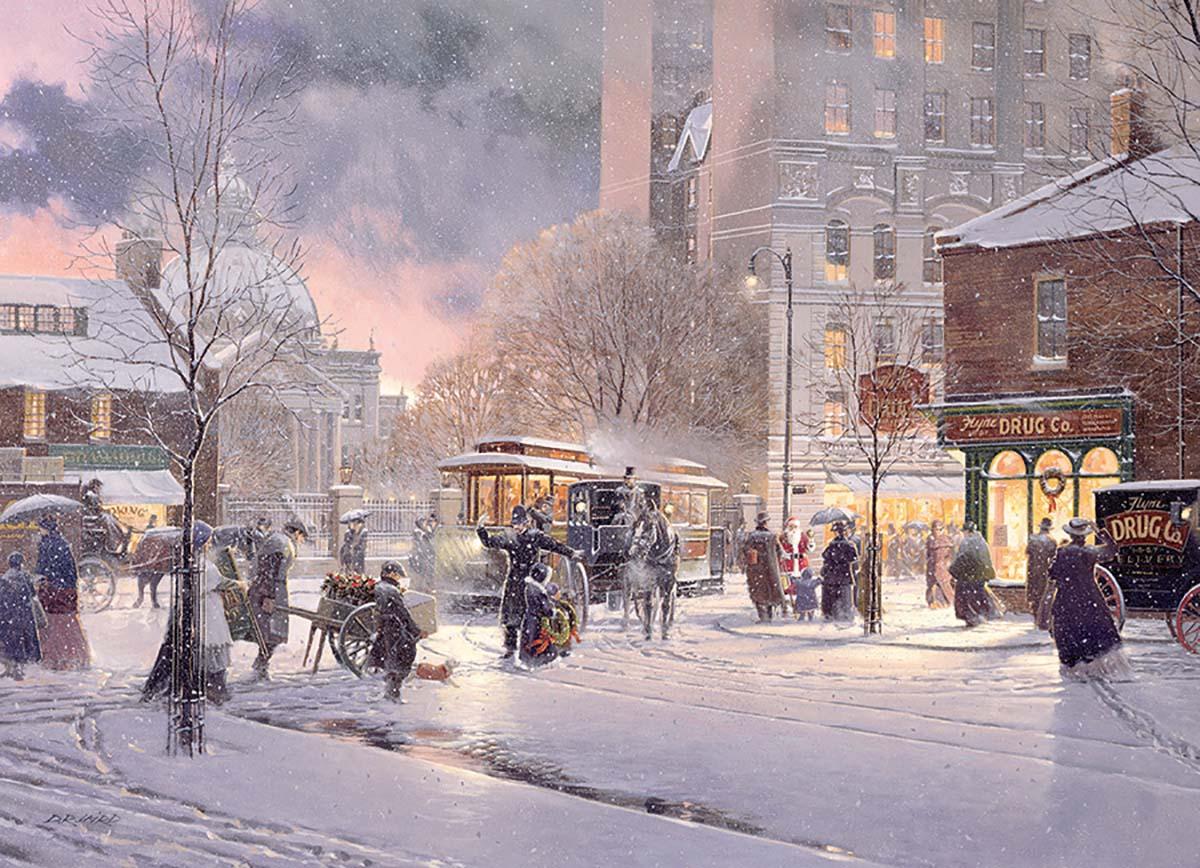 Winter Flurry Street Scene Jigsaw Puzzle