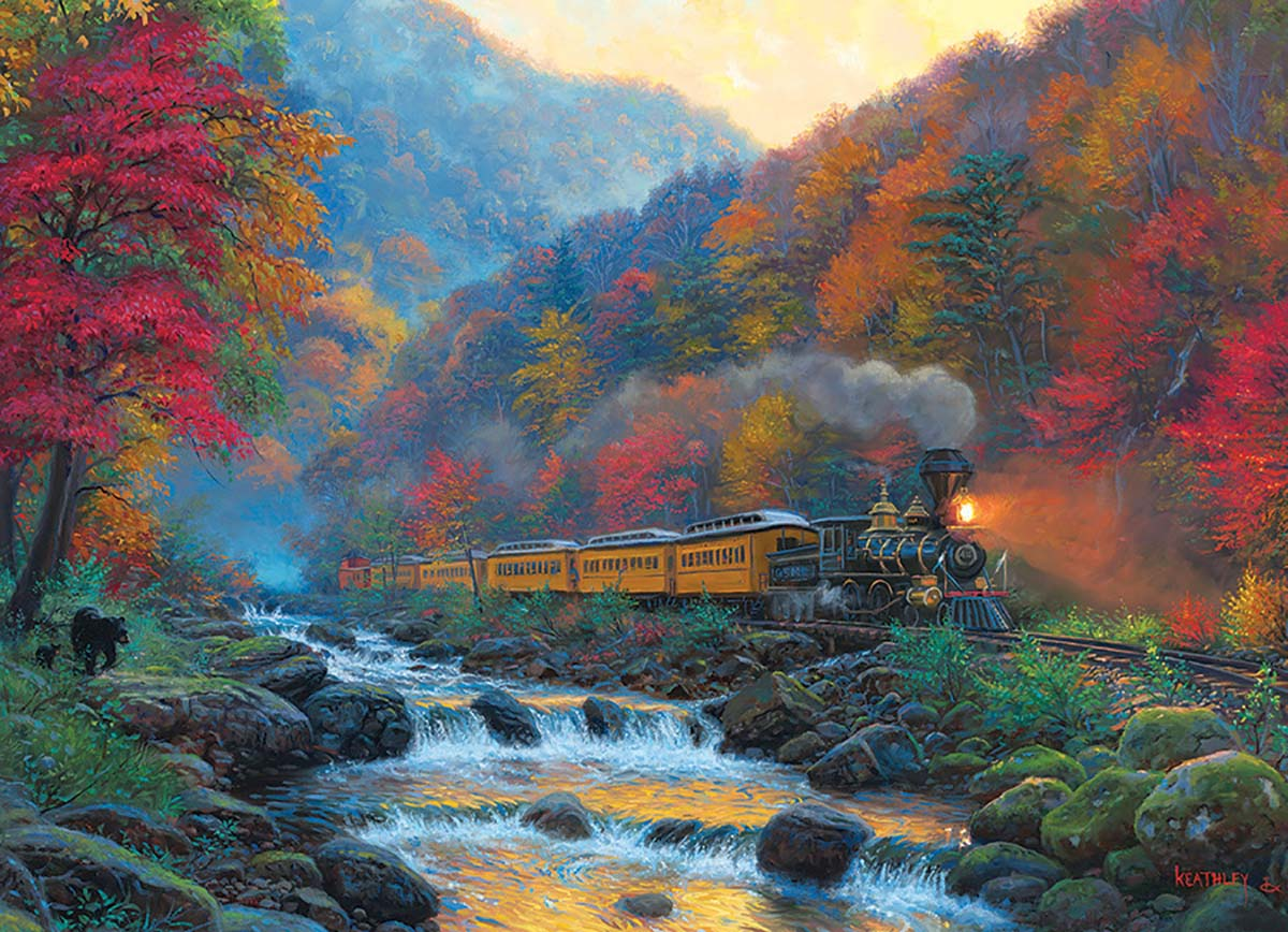 Smoky Train Fall Jigsaw Puzzle