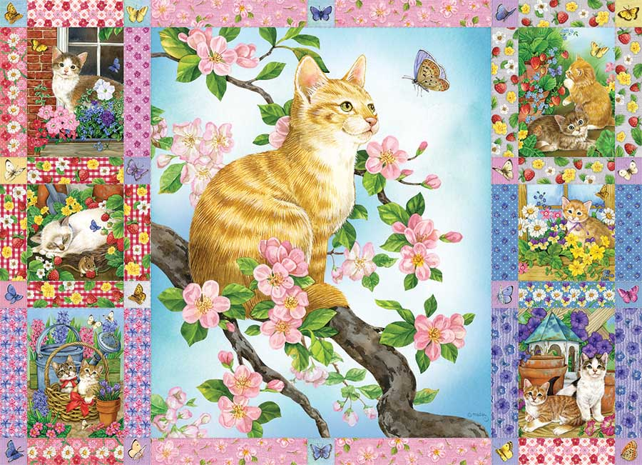 Blossoms and Kittens Quilt Cats Jigsaw Puzzle