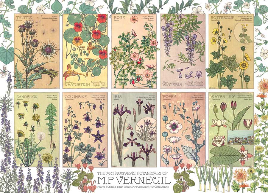 Botanicals by Verneuil Flowers Jigsaw Puzzle