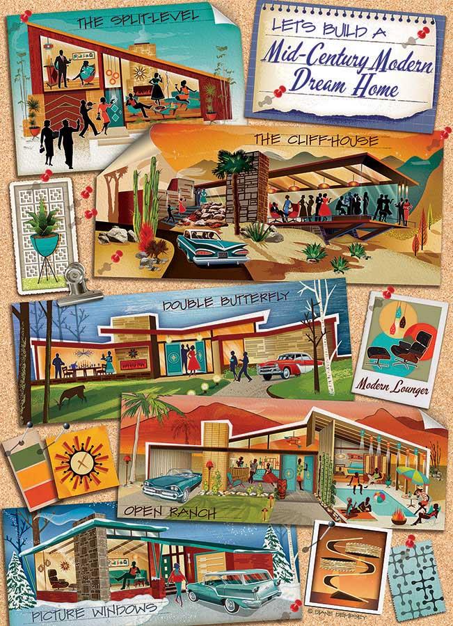 Mid-Century Modern Dream Home Domestic Scene Jigsaw Puzzle
