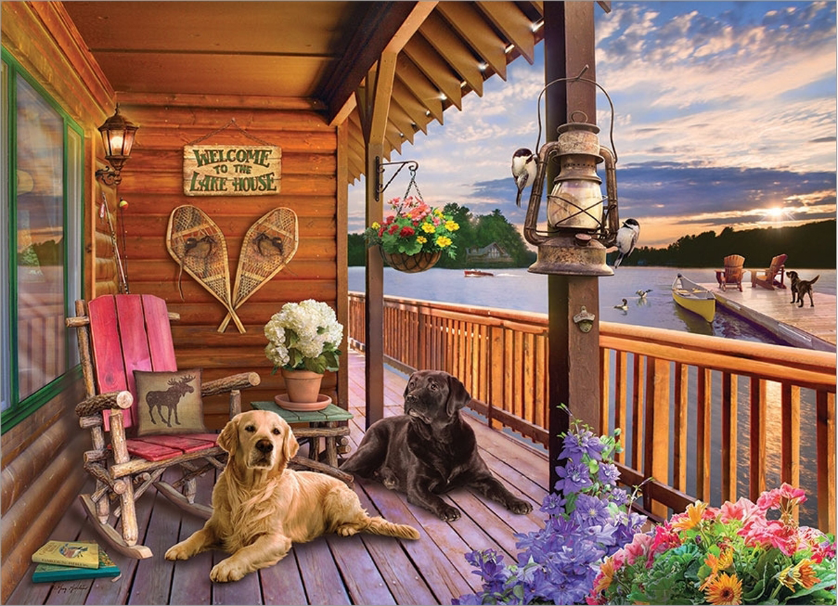 Welcome to the Lake House Dogs Jigsaw Puzzle