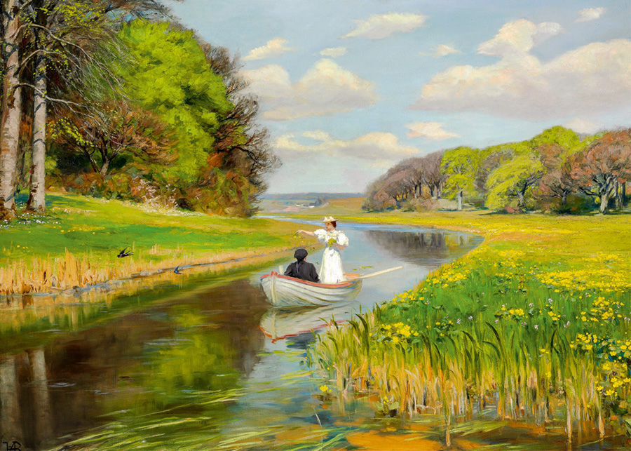 Rowing Boat on Odense Landscape Jigsaw Puzzle