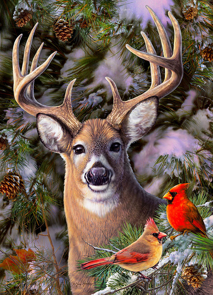One Deer Two Cardinals Animals Jigsaw Puzzle