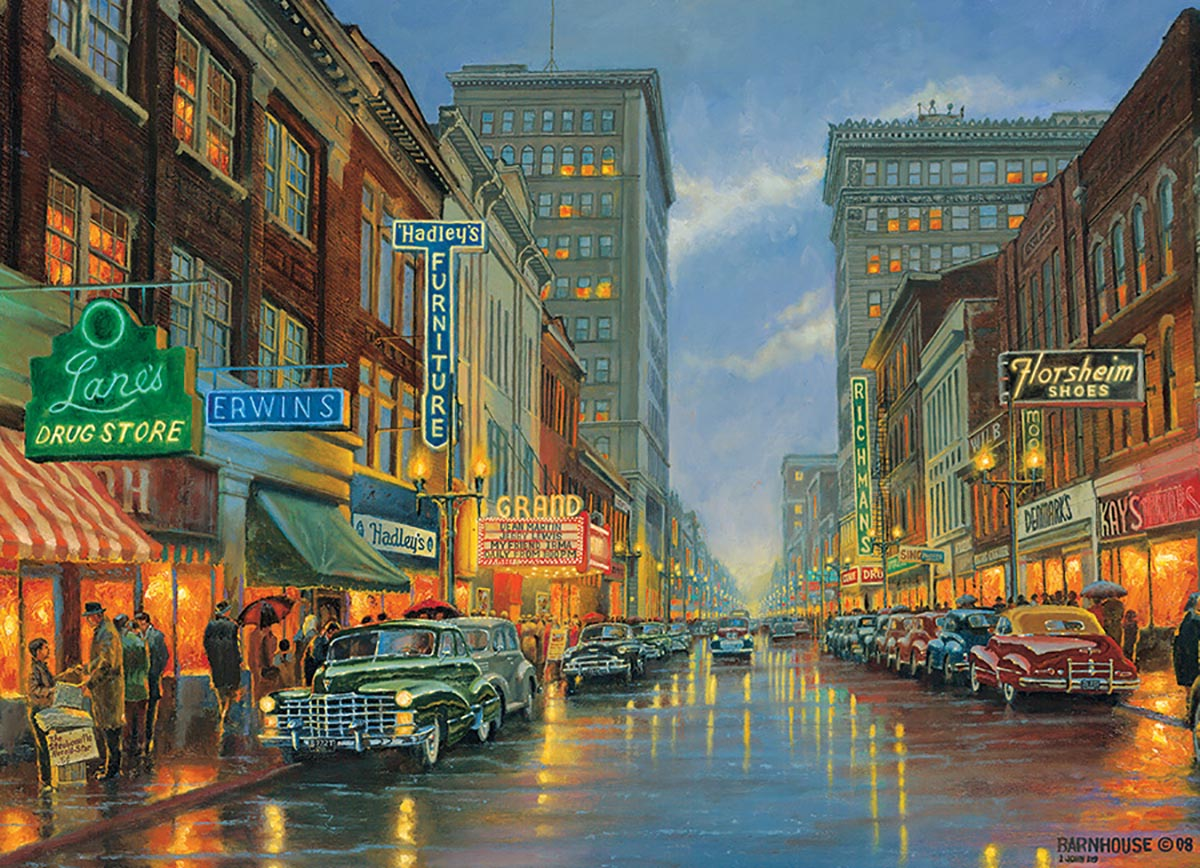 A Grand Night in Steubenville Street Scene Jigsaw Puzzle