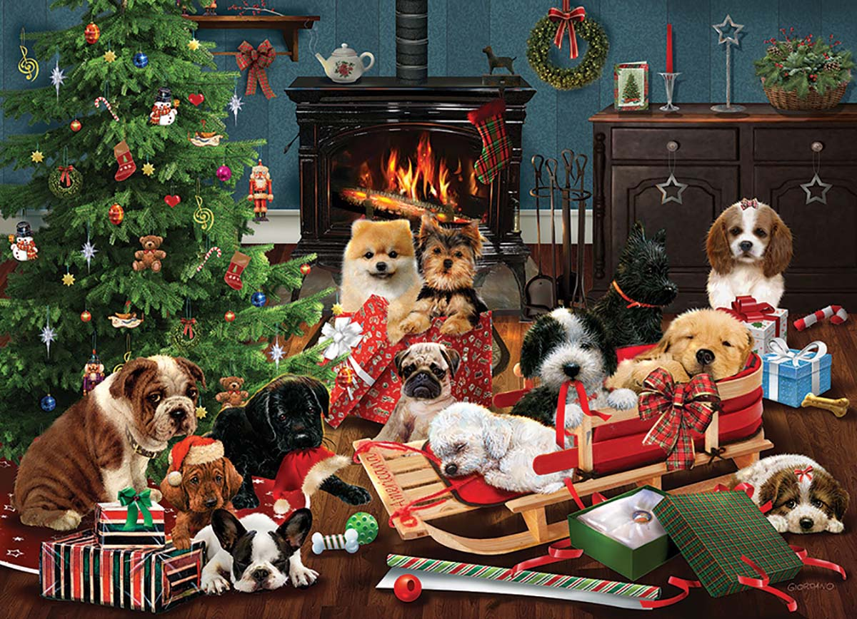 Christmas Puppies Dogs Jigsaw Puzzle