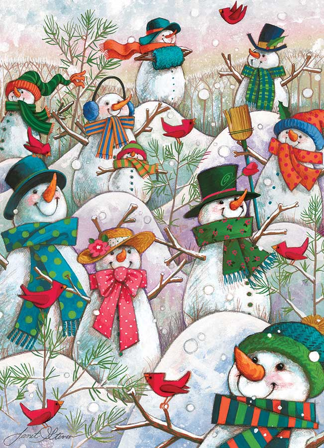 Hill of a Lot of Snowmen Winter Jigsaw Puzzle
