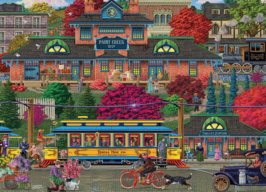 Trolley Station Street Scene Jigsaw Puzzle