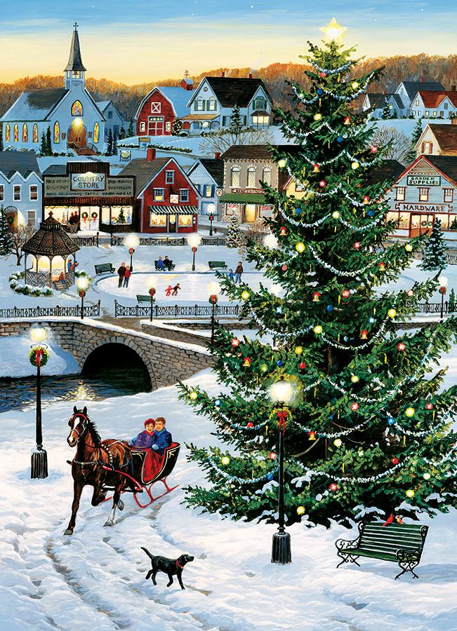 Village Tree Winter Jigsaw Puzzle