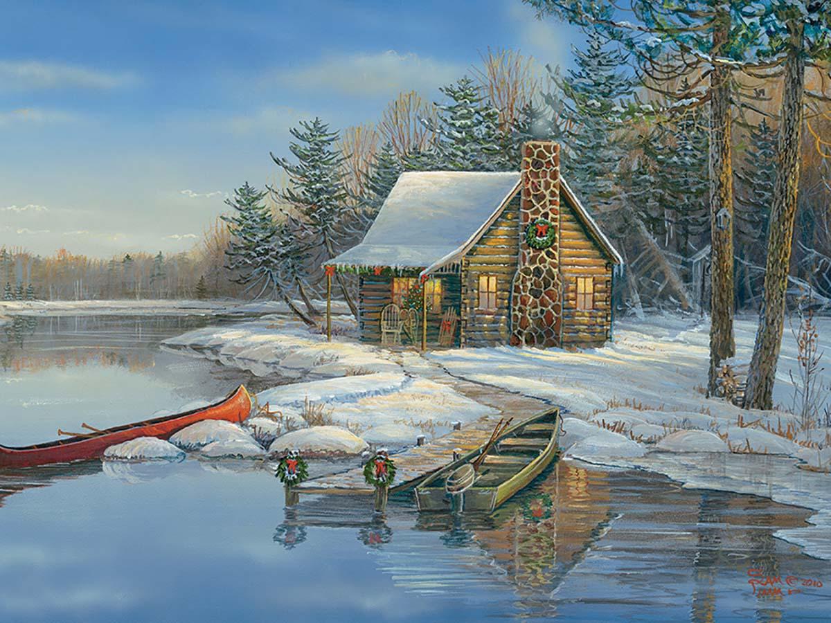 Winter Cabin Winter Jigsaw Puzzle