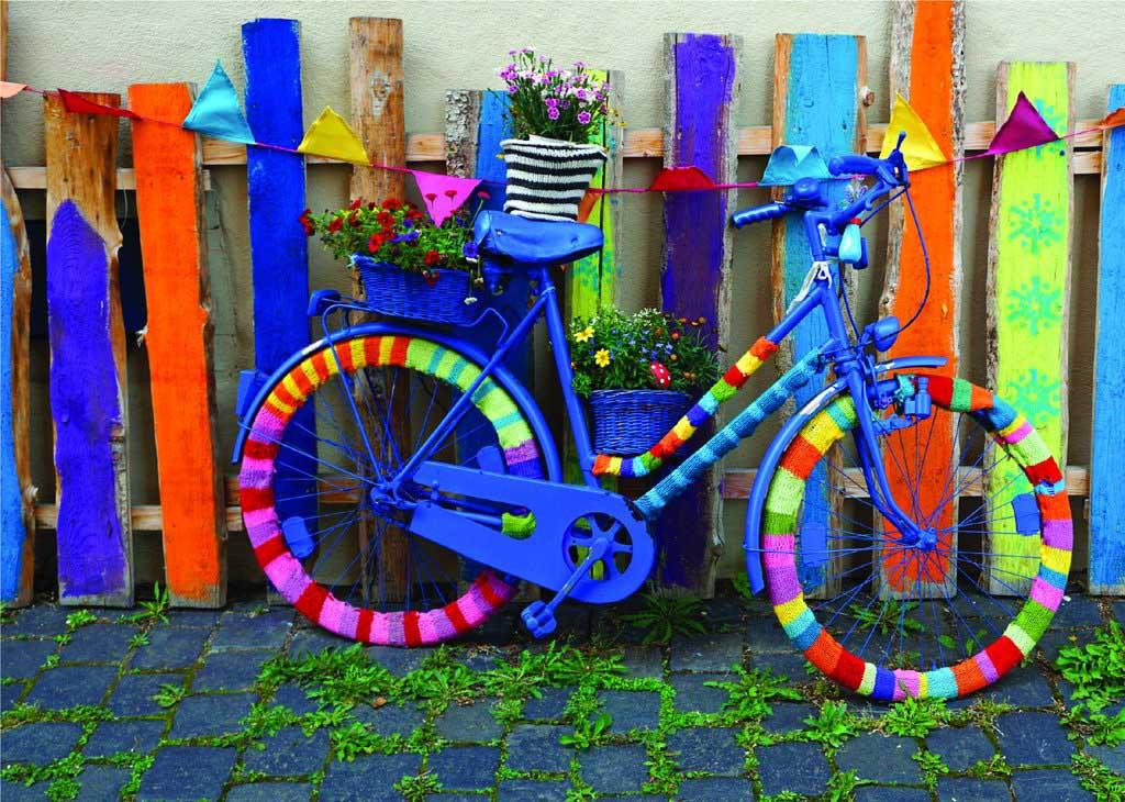 Groovy Bicycle Street Scene Jigsaw Puzzle