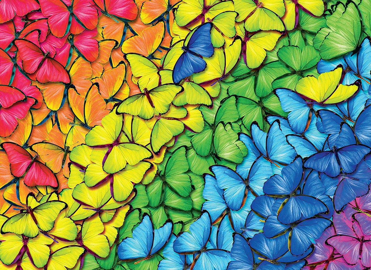 Butterfly Rainbow - Scratch and Dent Butterflies and Insects Jigsaw Puzzle
