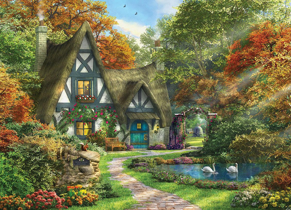 White Swan Cottage Garden Jigsaw Puzzle