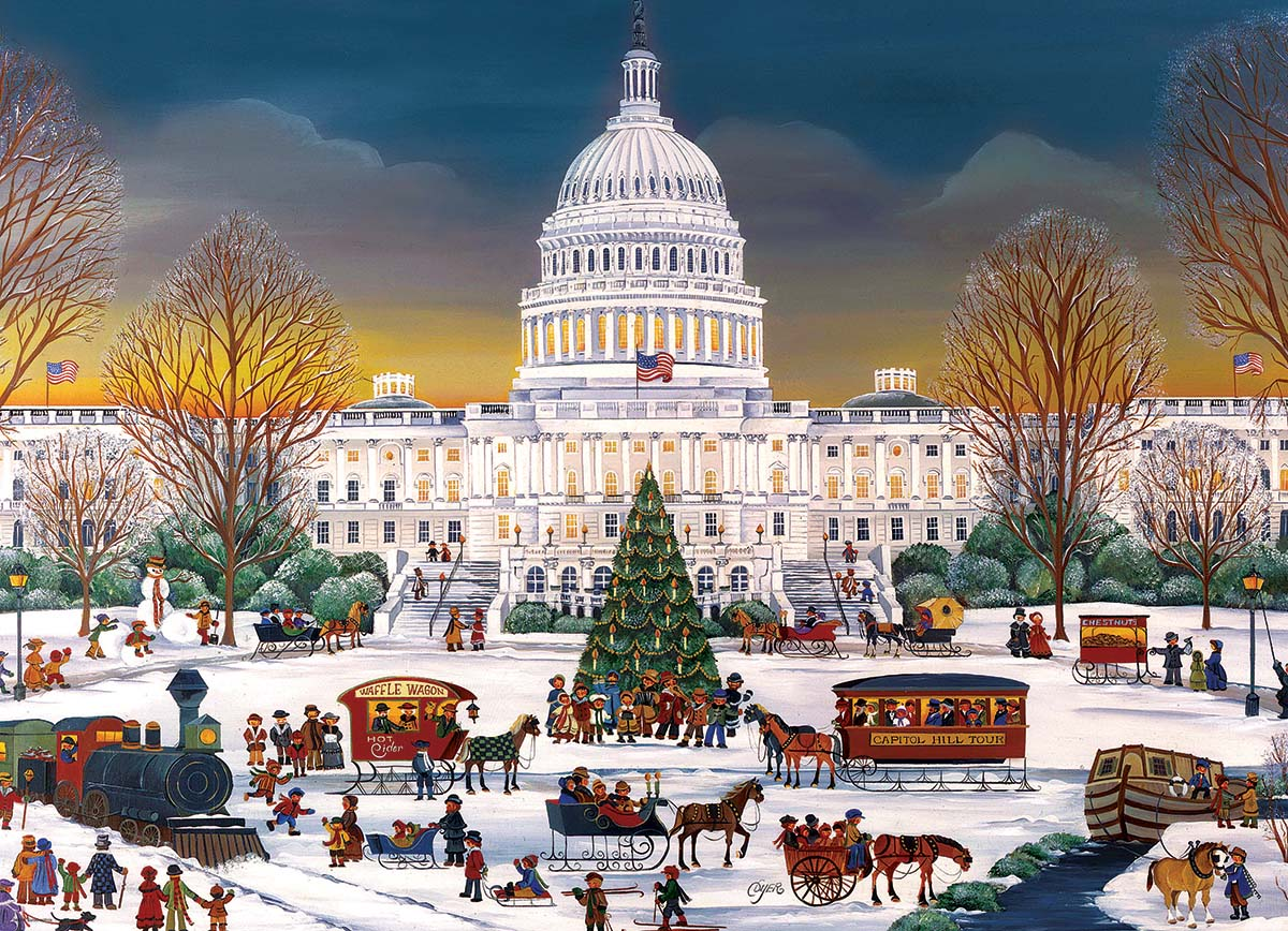Christmas at the Capitol Street Scene Jigsaw Puzzle