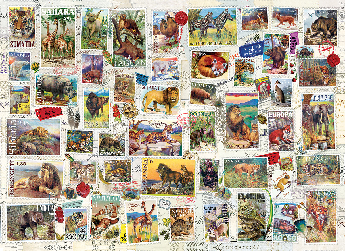 Butterflies Vintage Stamps Butterflies and Insects Jigsaw Puzzle