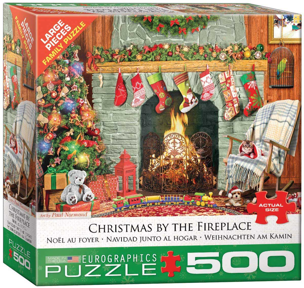 Christmas by the Fireplace Christmas Jigsaw Puzzle