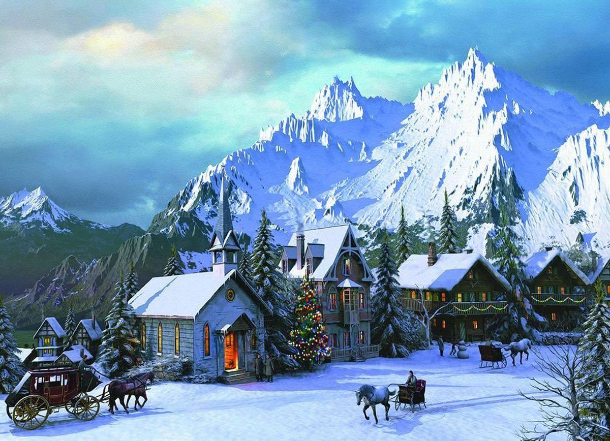 Rocky Mountain Christmas Mountains Jigsaw Puzzle