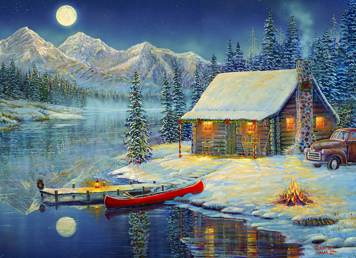 Cozy Christmas Mountains Jigsaw Puzzle