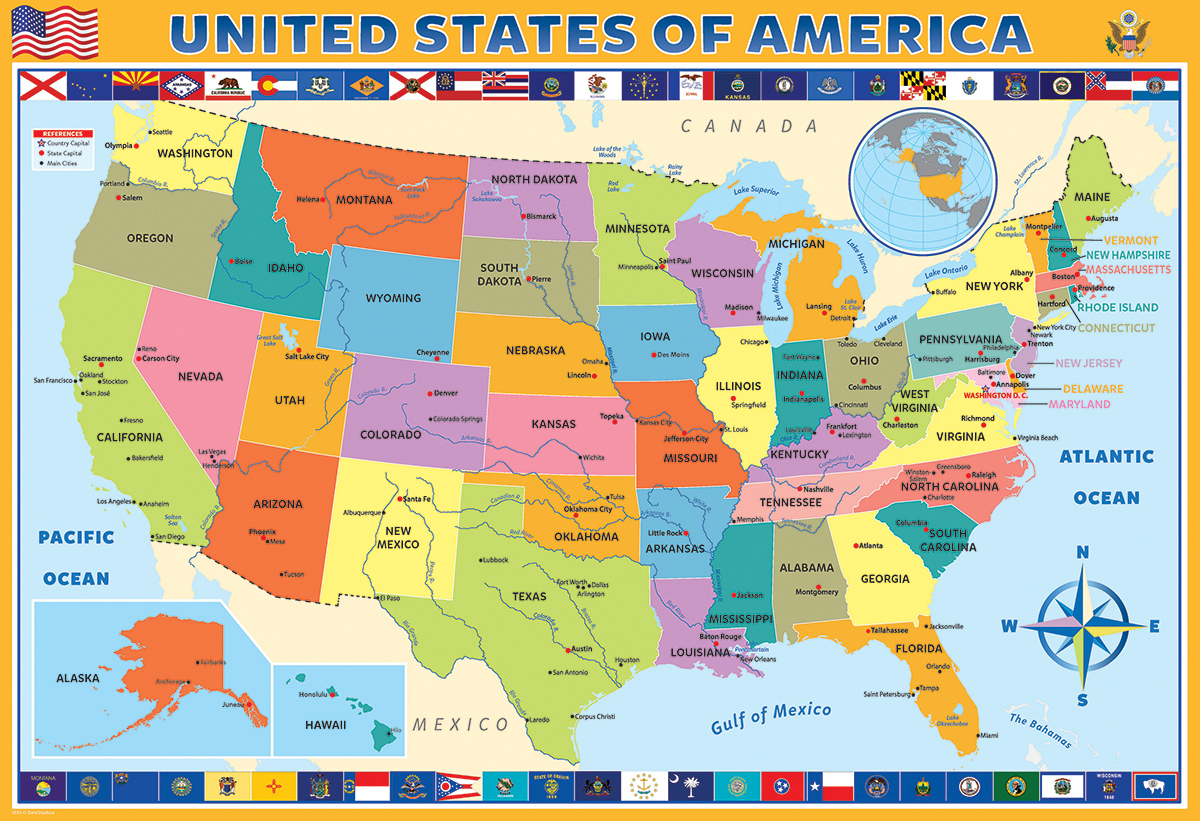 Map of the United States of America Educational Jigsaw Puzzle