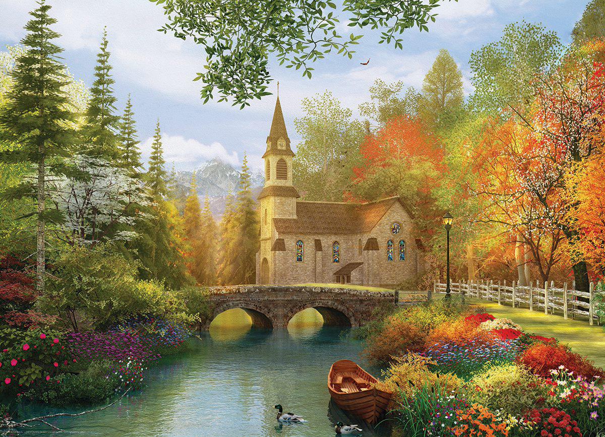 Autumn Church Fall Jigsaw Puzzle