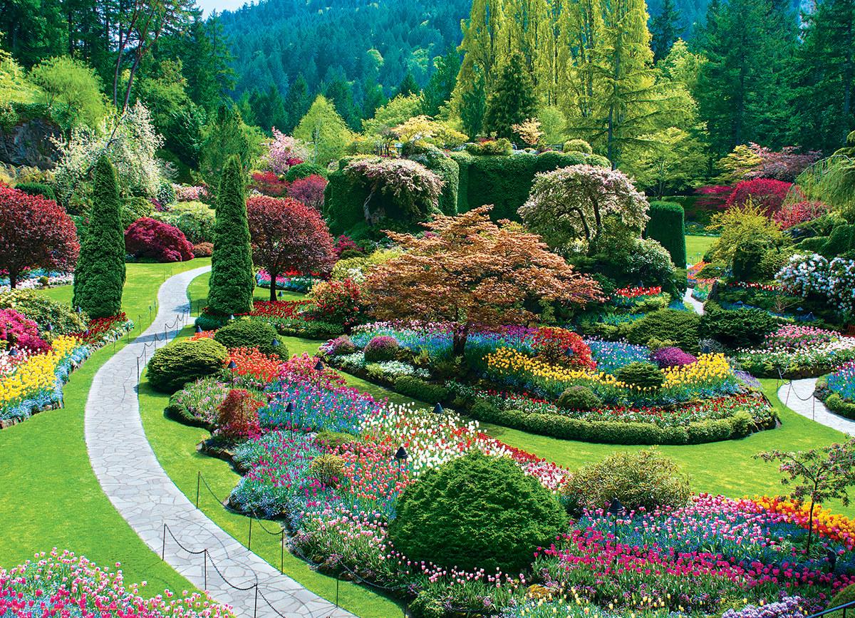 Sunken Garden The Butchart Gardens Flowers Jigsaw Puzzle