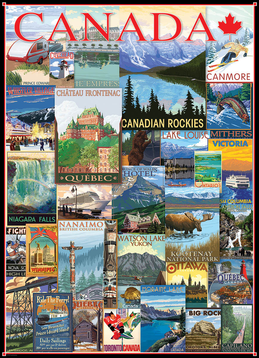 Travel Canada Vintage Posters 1000-Piece Puzzle (DUPE) Canada Jigsaw Puzzle