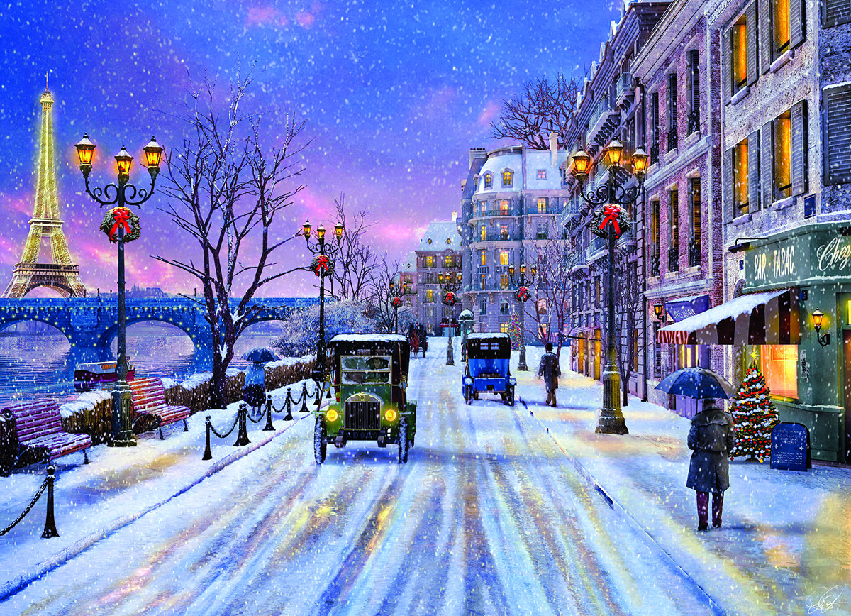 Christmas Eve in Paris Street Scene Jigsaw Puzzle