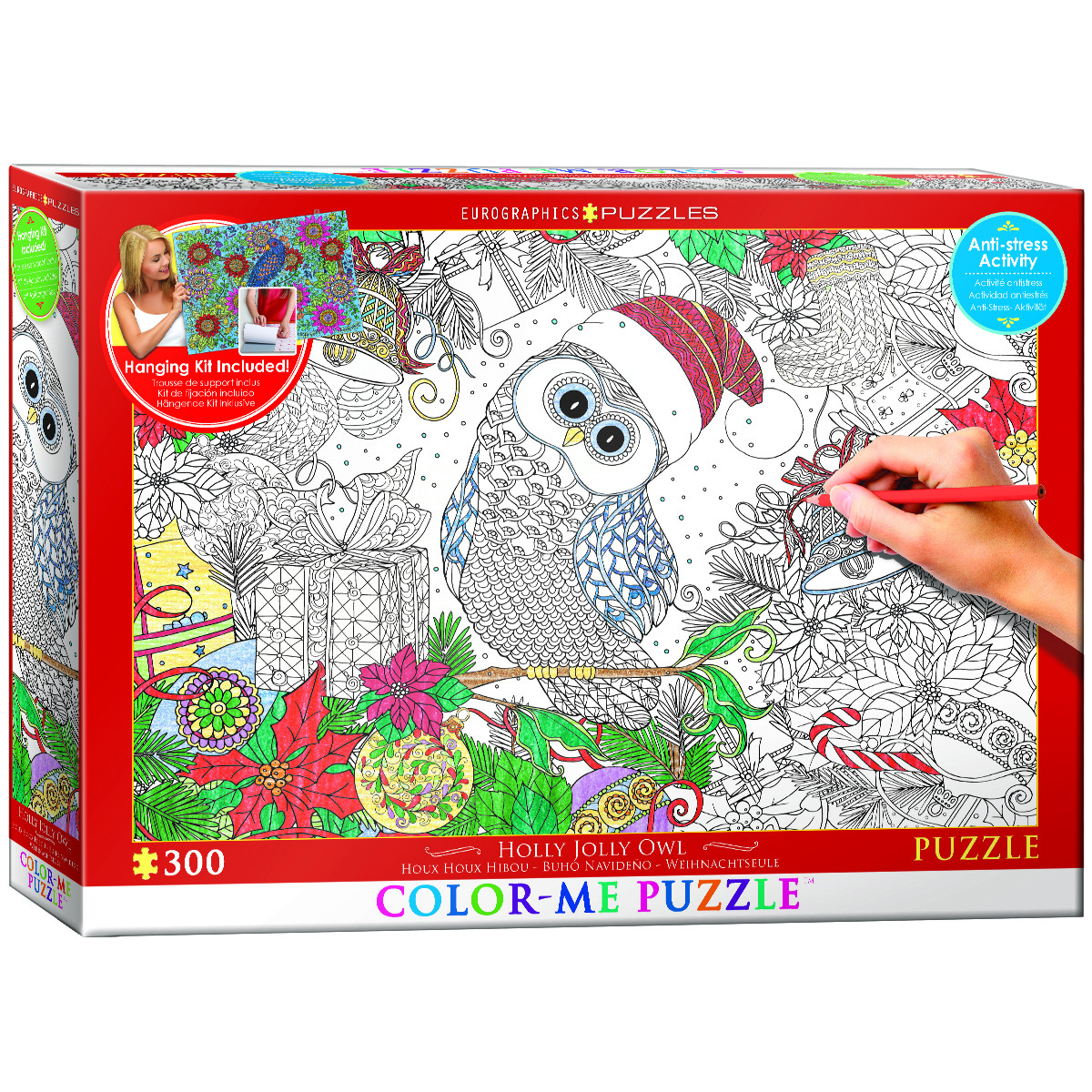 Holly Jolly Owl Birds Jigsaw Puzzle