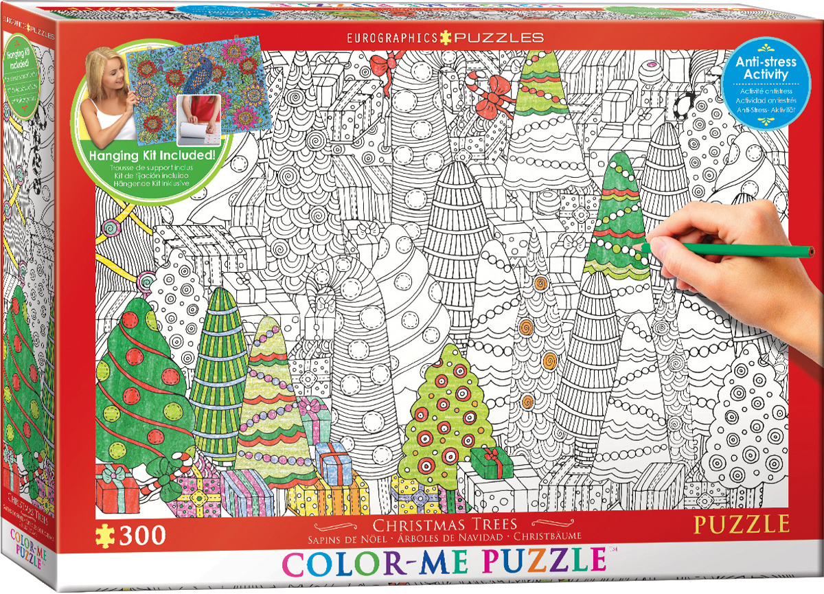 Christmas Trees Color-Me Puzzle Christmas Jigsaw Puzzle