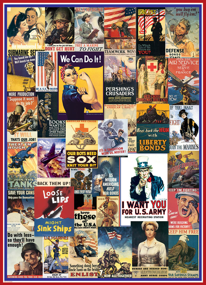 World War I & II Vintage Posters Patriotic Jigsaw Puzzle