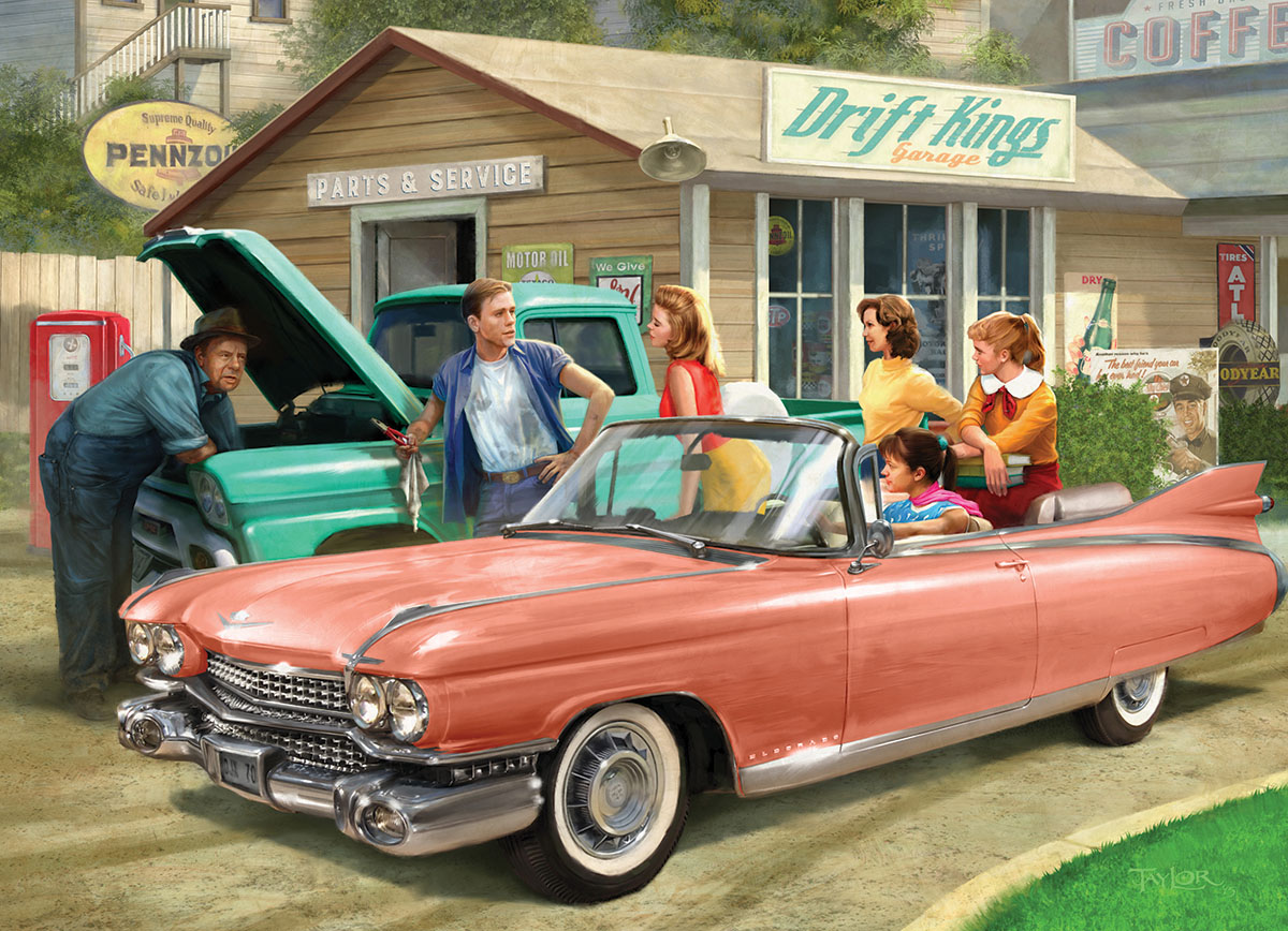 The Pink Caddy Cars Jigsaw Puzzle