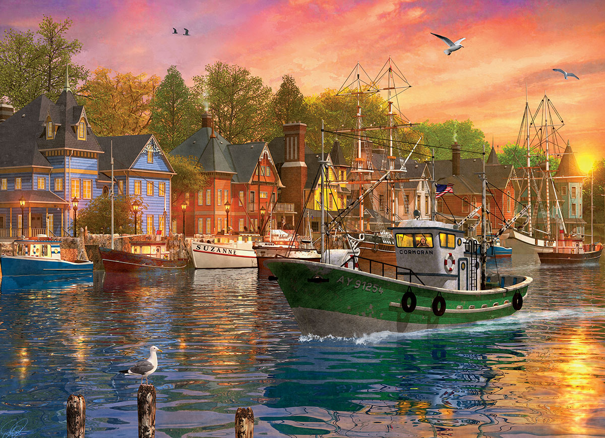Harbor Sunset Seascape / Coastal Living Jigsaw Puzzle