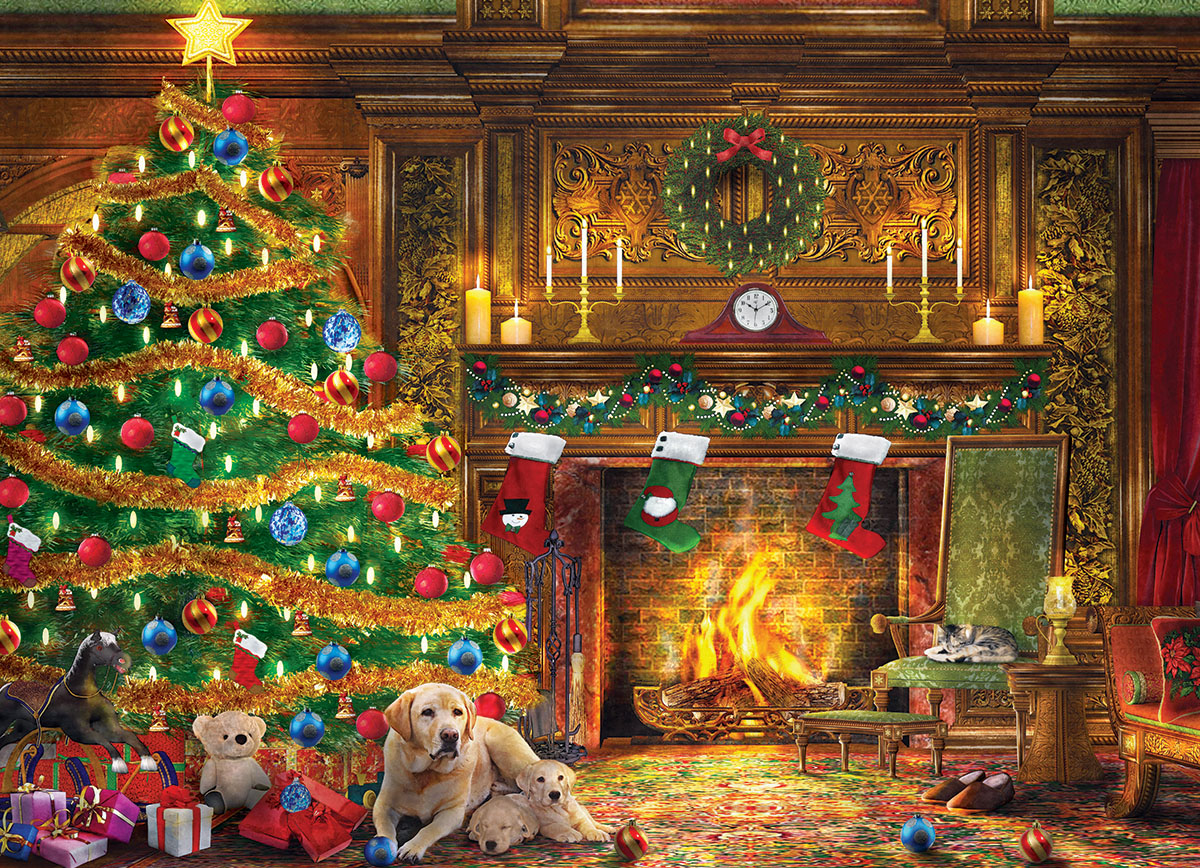 Festive Labs Dogs Jigsaw Puzzle