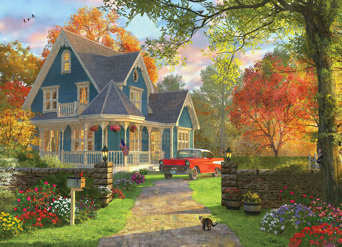 The Blue Country House Jigsaw Puzzle Puzzlewarehouse Com