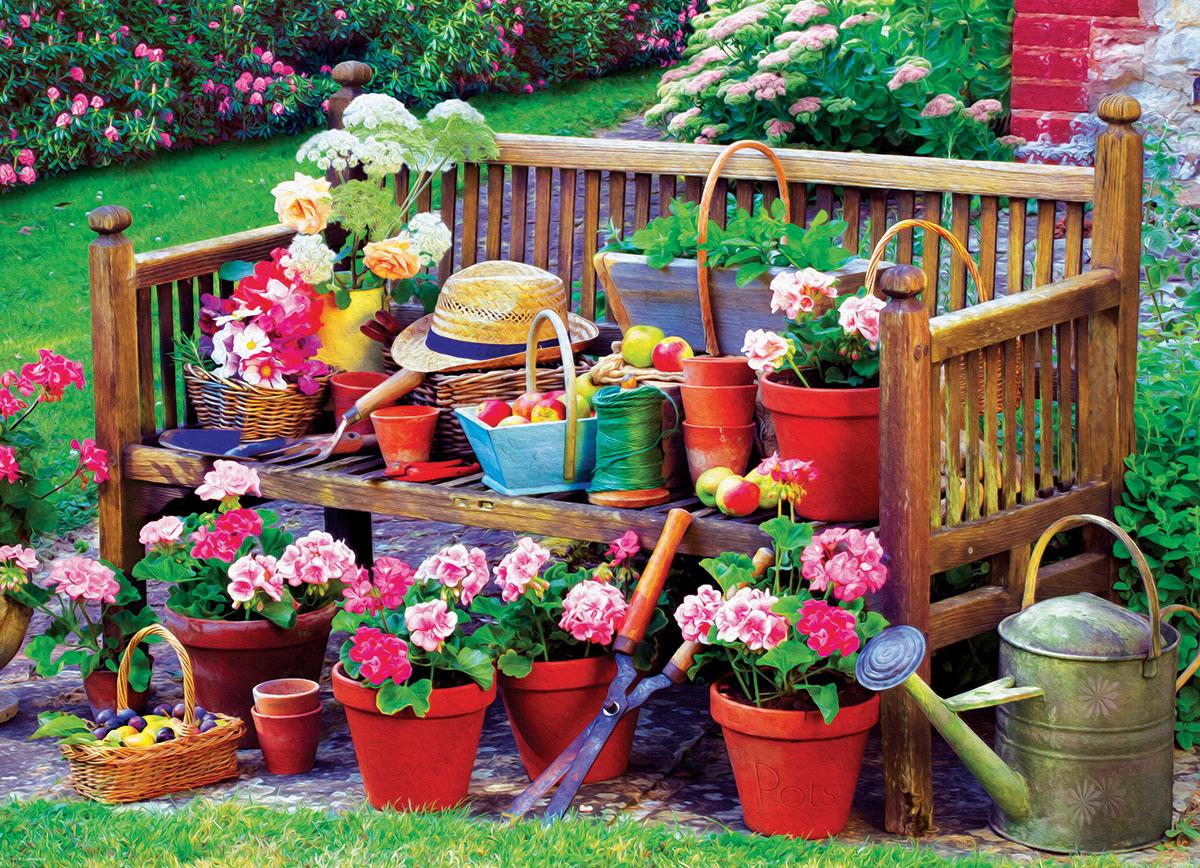 Garden Bench Spring Jigsaw Puzzle