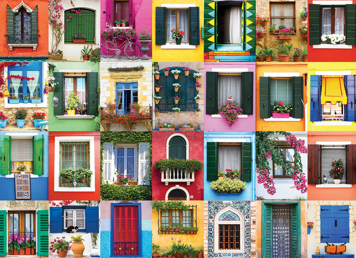 Mediterranean Windows Everyday Objects Jigsaw Puzzle