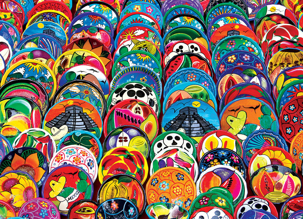 Mexican Ceramic Plates Travel Jigsaw Puzzle