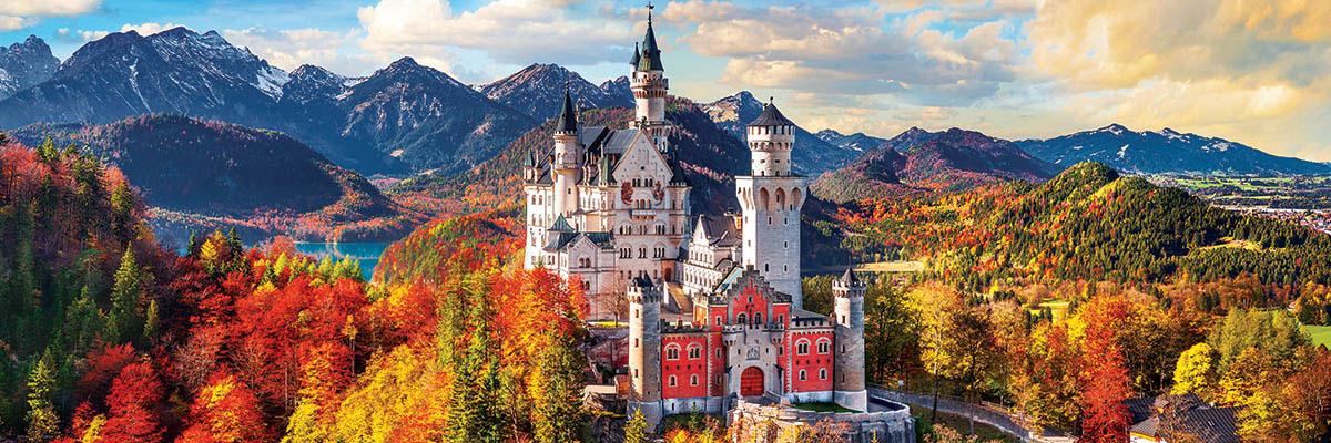 Neuschwanstein Castle Bavaria Germany Panoramic Castles Jigsaw Puzzle