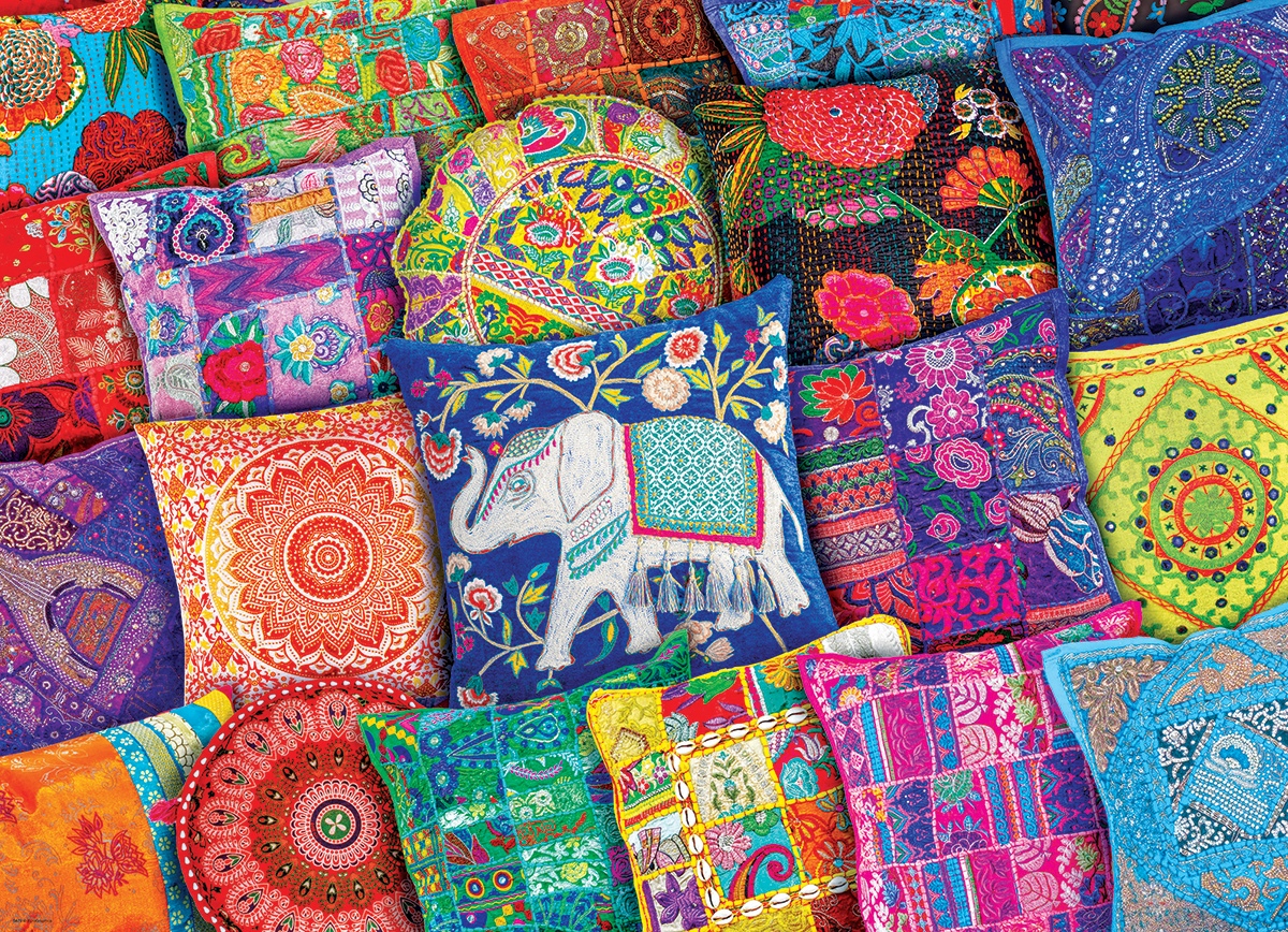 Indian Pillows Cultural Art Jigsaw Puzzle