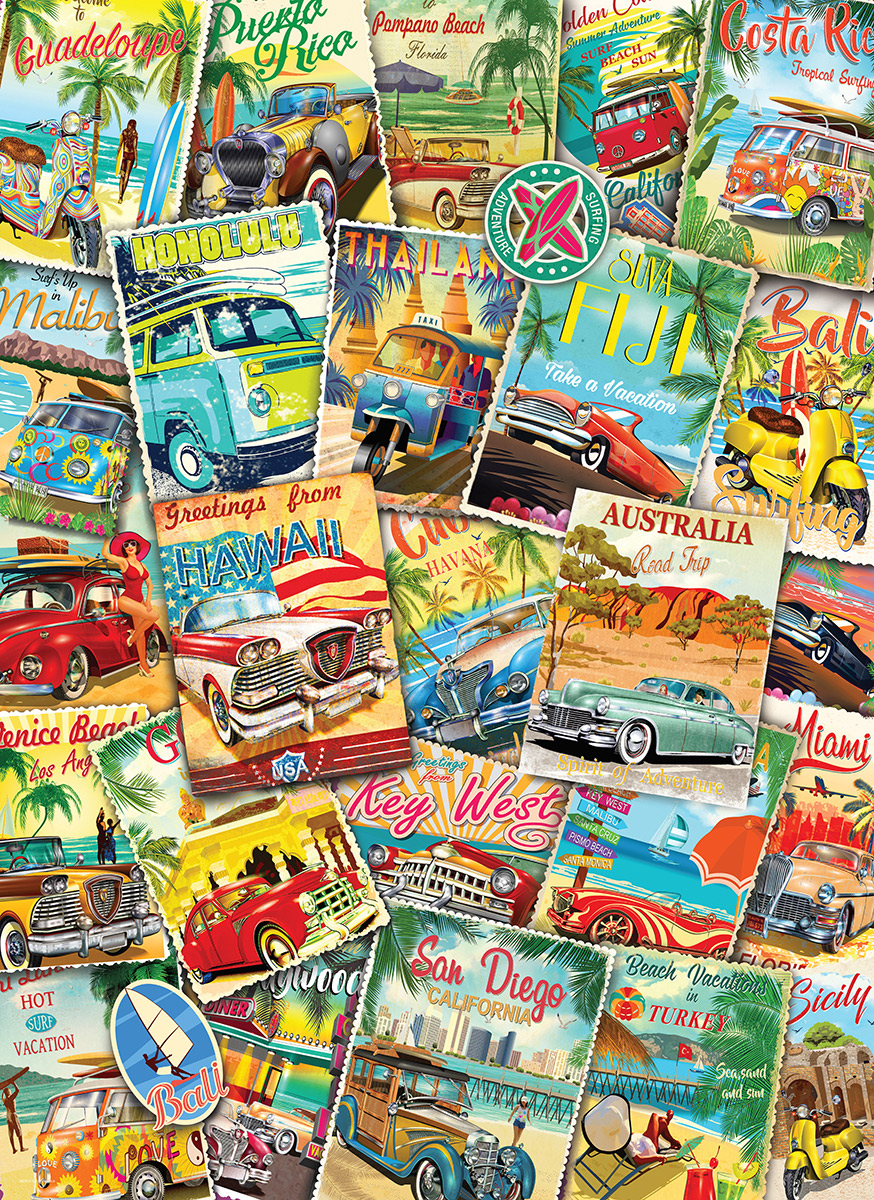Vintage Travel Collage Travel Jigsaw Puzzle
