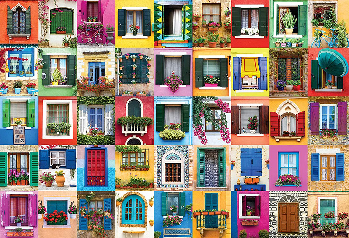 Mediterranean Windows Collage Jigsaw Puzzle